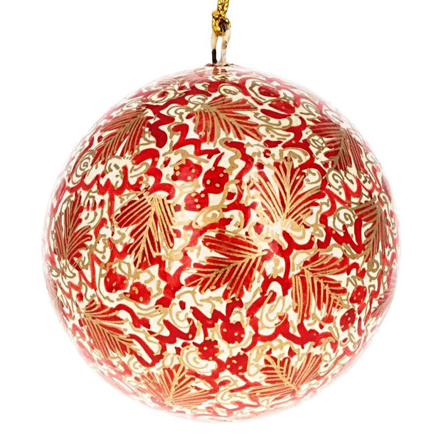 Buy Online Gift Shop Set of 3 Golden Leaves Wooden Christmas Ball Ornaments 3 Inches