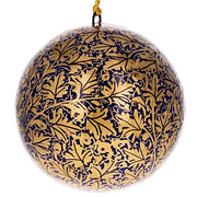Set of 3 Golden Leaves Wooden Christmas Ball Ornaments 3 Inches