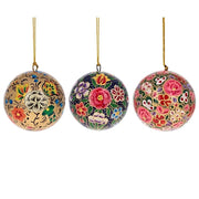 3 Floral Wooden Christmas Ball Ornaments 3 Inches by BestPysanky