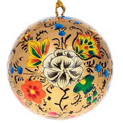 Buy Online Gift Shop 3 Floral Wooden Christmas Ball Ornaments 3 Inches