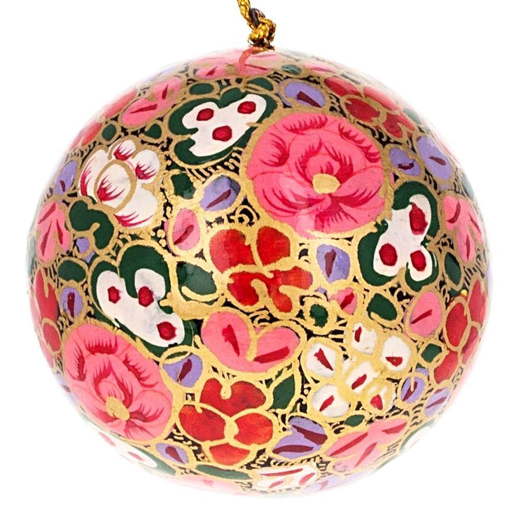 3 Floral Wooden Christmas Ball Ornaments 3 Inches