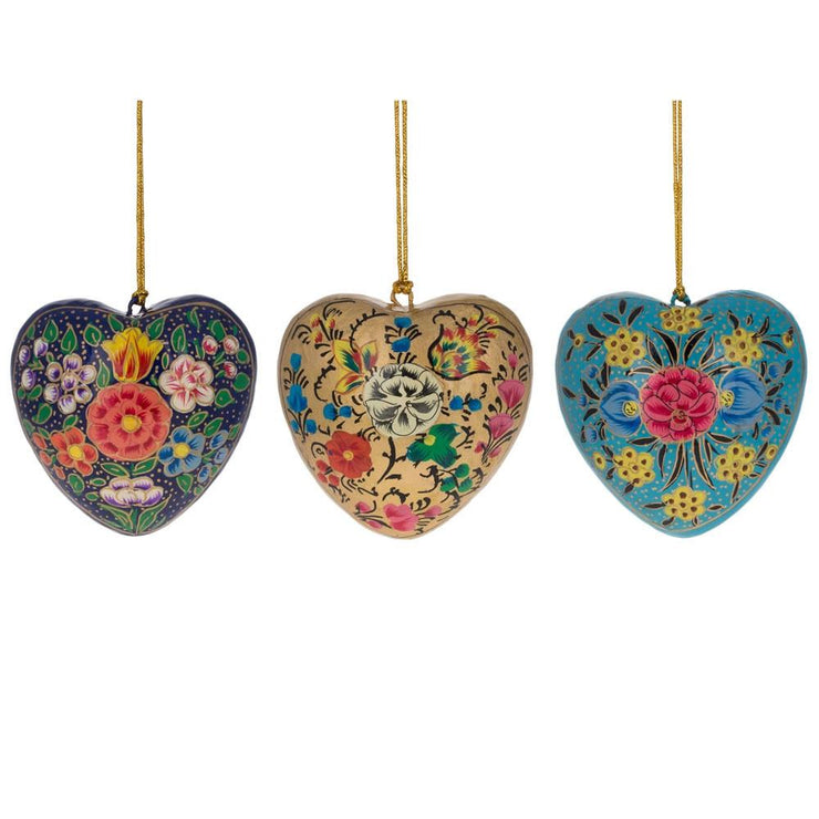 Set of 3 Flower Hearts Wooden Christmas Ornaments 3 Inches by BestPysanky