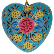 Set of 3 Flower Hearts Wooden Christmas Ornaments 3 Inches