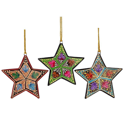 Set of 3 Stars Wooden Christmas Ornaments by BestPysanky