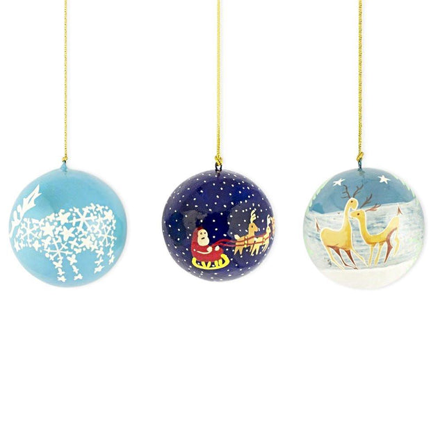 3 Santa and Reindeer Wooden Christmas Ball Ornaments by BestPysanky