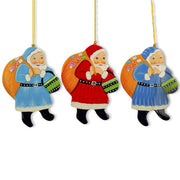 Set of 3 Santa Claus with Gifts Wooden Christmas Ornaments by BestPysanky