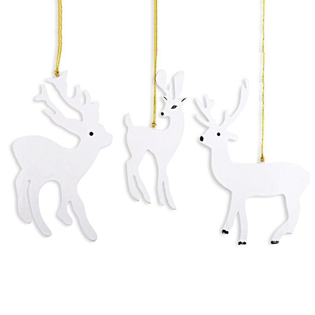 Set of 3 White Deer Wooden Christmas Ornaments 7 Inches by BestPysanky