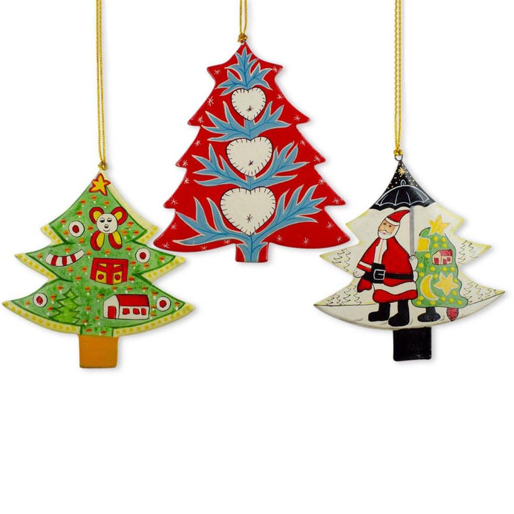 Set of 3 Santa and Christmas Trees Wooden Christmas Ornaments by BestPysanky