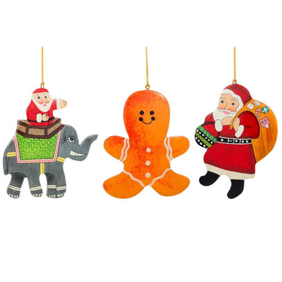 Set of 3 Santa, Gingerbread and Elephant Wooden Christmas Ornaments by BestPysanky