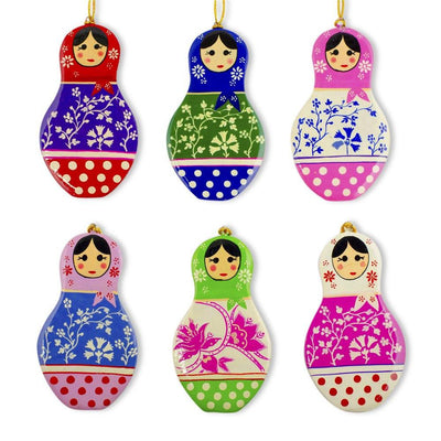 6 Matryoshka Russian Nesting Dolls Wooden Christmas Ornaments by BestPysanky