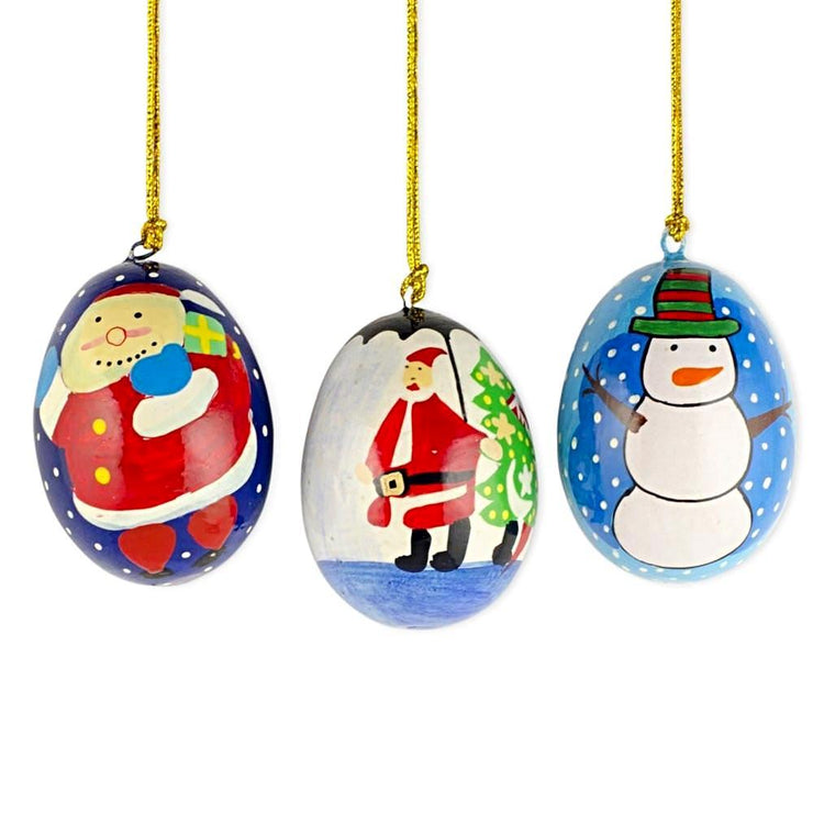 3 Wooden Egg Christmas Ornaments Santa, Christmas Tree and Snowman by BestPysanky