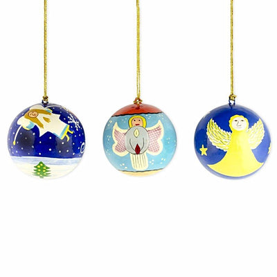 3 Angels Wooden Christmas Ball Ornaments by BestPysanky