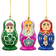 3 Russian Dolls Matryoshka Wooden Christmas Ornaments by BestPysanky
