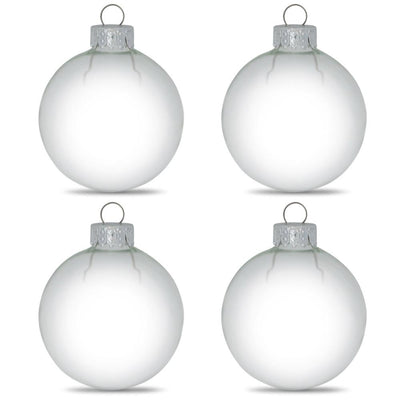 Set of 4 Clear Glass Ball Christmas Ornaments DIY Craft 3.15 Inches by BestPysanky
