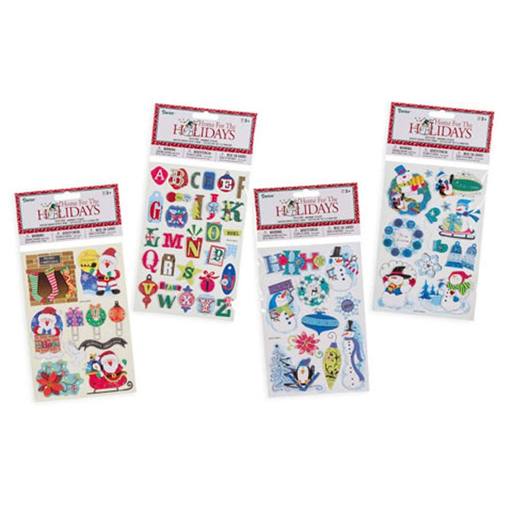 Set of 4 Assorted 3D Christmas Sticker Packs with Santa, Snowman, Alphabet by BestPysanky