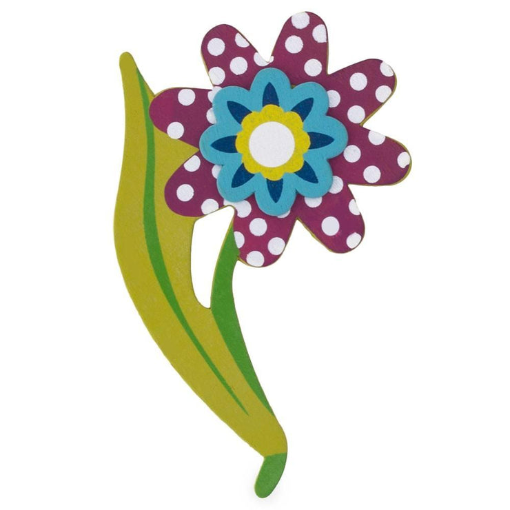 Flower Painted Finished Wooden Shape Craft Cutout DIY 3D Plaque 5 Inches by BestPysanky