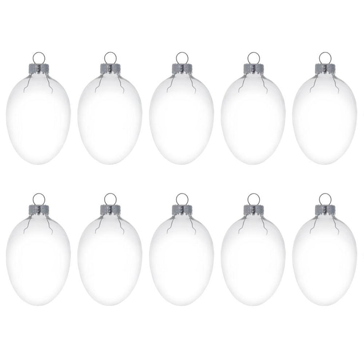 Set of 10  Egg Shaped Clear Glass Christmas Ornaments DIY Craft 2 Inches by BestPysanky