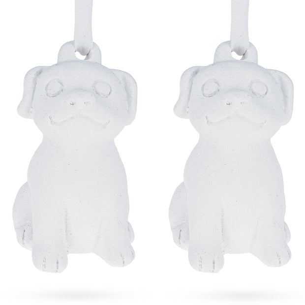 Plaster 3D Dog Ornament Set of 2 by BestPysanky