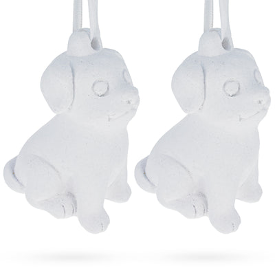 Set of 2 Blank Unfinished White Plaster Dog Christmas Ornaments DIY Craft 3.25 Inches by BestPysanky