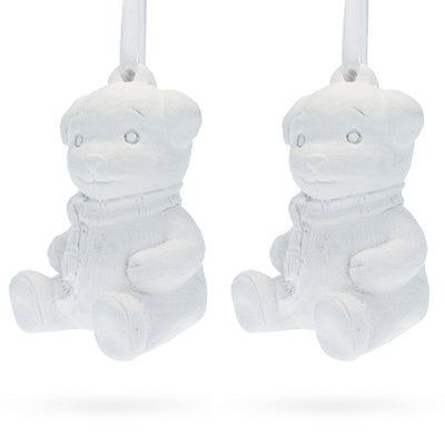 Set of 2 Blank White Unfinished Unpainted Plaster Teddy Bear Ornaments 3.5 Inches by BestPysanky