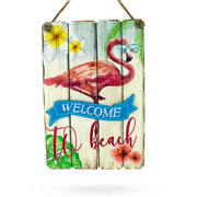 Welcome to the Beach Hanging Flamingo Wooden Sign Display 9.5 Inches by BestPysanky