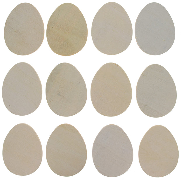 Set of 12 Unpainted Unfinished Wooden Egg Cutouts DIY Crafts by BestPysanky