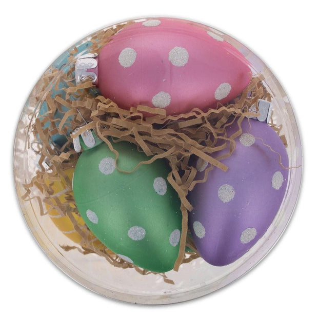 Set of 7 Polka Dots & Stripes Plastic Easter Egg Ornaments 2.5 Inches