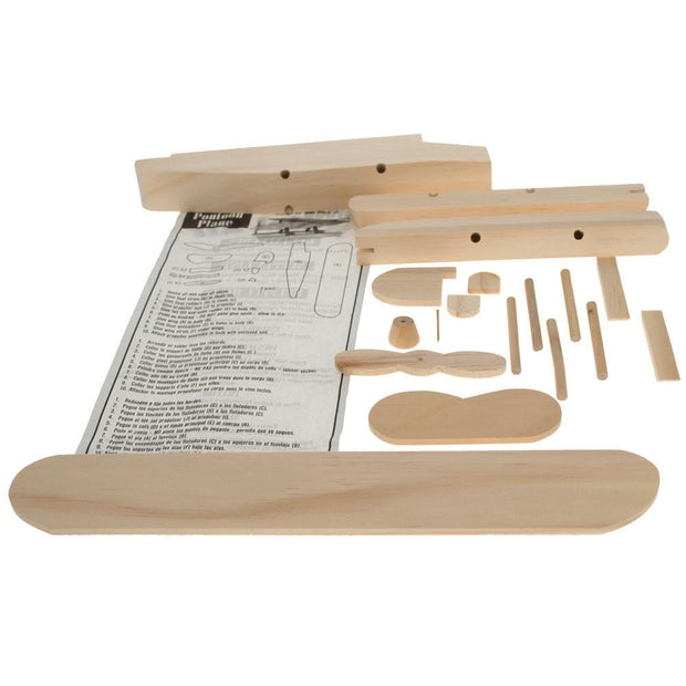 Unfinished Unpainted Wooden Float-plane Pontoon Model Kit DIY Craft 7.25 Inches