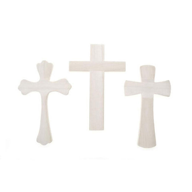 Set of 3 Assorted Blank Unfinished Wooden Crosses 9.5 Inches by BestPysanky