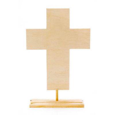 Tabletop Standing Cross Unfinished Wooden Craft DIY Unpainted 3D Figurine 8.75 Inches by BestPysanky
