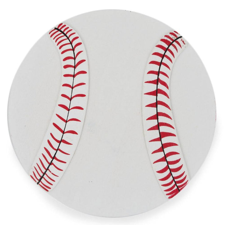 Painted Finished Wooden Baseball Shape Cutout DIY Craft 5 Inches by BestPysanky
