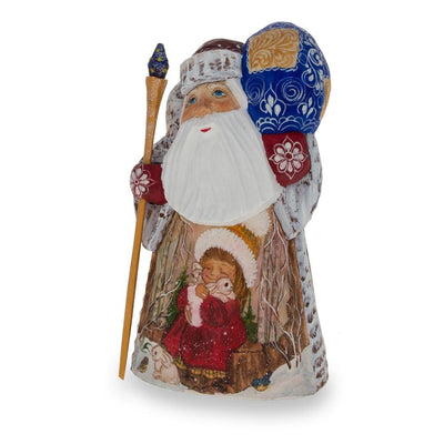 Hand Carved Wooden Russian Ded Moroz (Santa) Figurine 6.25 Inches by BestPysanky