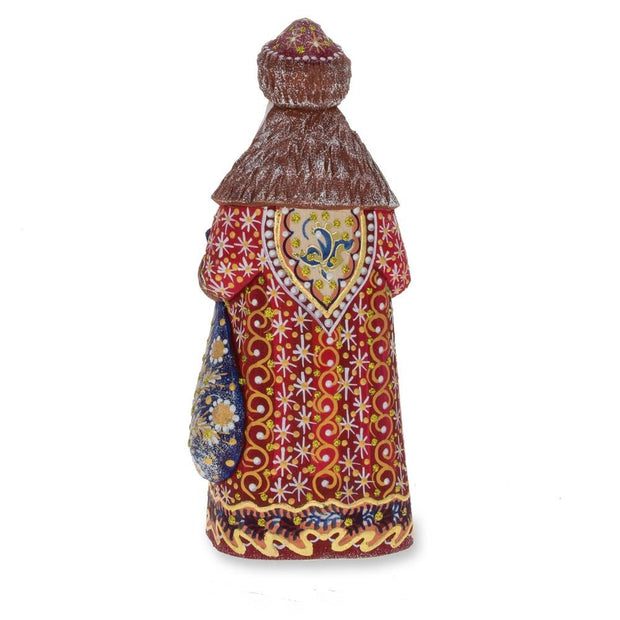Hand Carved Unfinished Wooden Russian Ded Moroz (Santa) Figurine 6.5 Inches