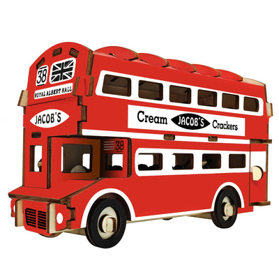 Double-Decker London Bus Model Kit - Wooden Laser-Cut 3D Puzzle (94 Pcs) by BestPysanky