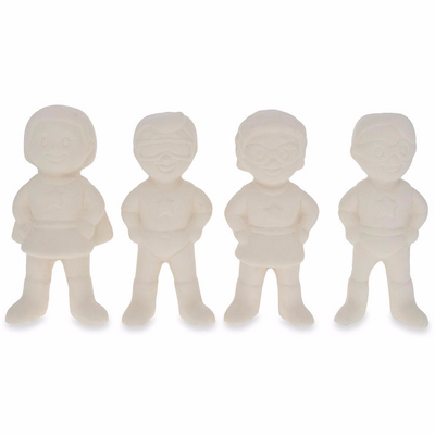 Set of 4 Blank Superhero Ceramic Figurines Male and Female 3 Inches by BestPysanky