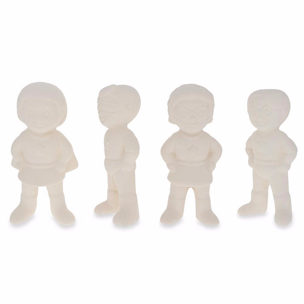Set of 4 Blank Superhero Ceramic Figurines Male and Female 3 Inches
