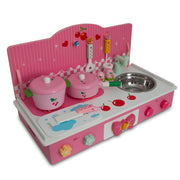 Wooden Pink Toy Kitchen Play Set 22 Inches