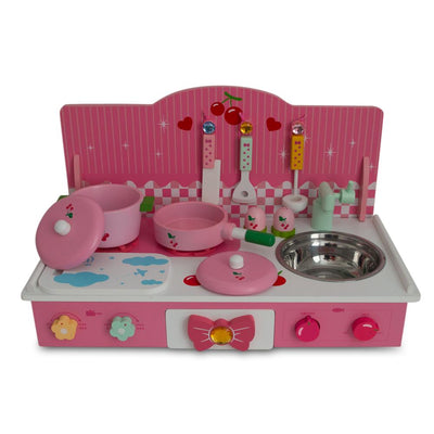 Wooden Pink Toy Kitchen Play Set 22 Inches by BestPysanky