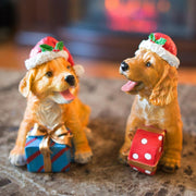 Set of 2 Golden Retriever Puppies Figurines with Christmas Gifts 5.75 Inches