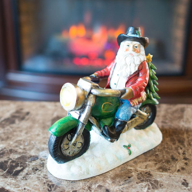 Western Cowboy Santa on a Motorcycle LED Light Figurine 8.5 Inches