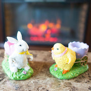 Set of Chick and Bunny Carrying Easter Egg Holder Figurines 5 Inches