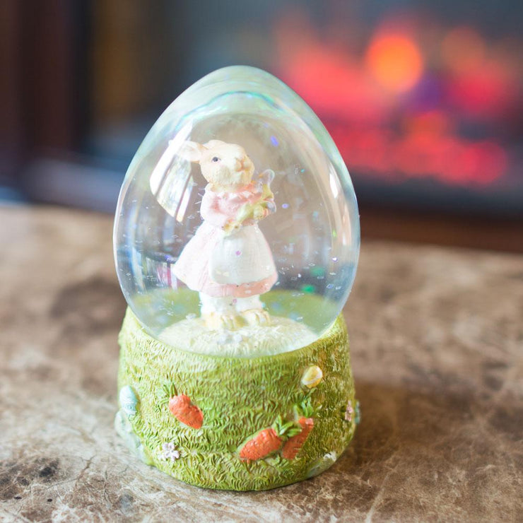 Mrs. Bunny with the Purple Iris Flower Water Snow Globe