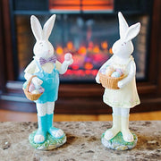 Two Bunnies with Easter Eggs Figurines 12 Inches