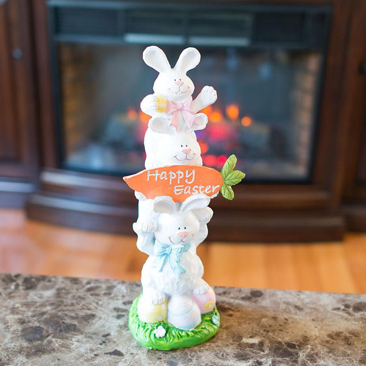 Three Bunnies Figurine Holding Happy Easter Carrot Sign 13 Inches