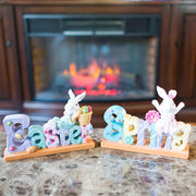 Set of 2 Easter and Spring Signs with Mr. & Mrs. Bunny 8 Inches