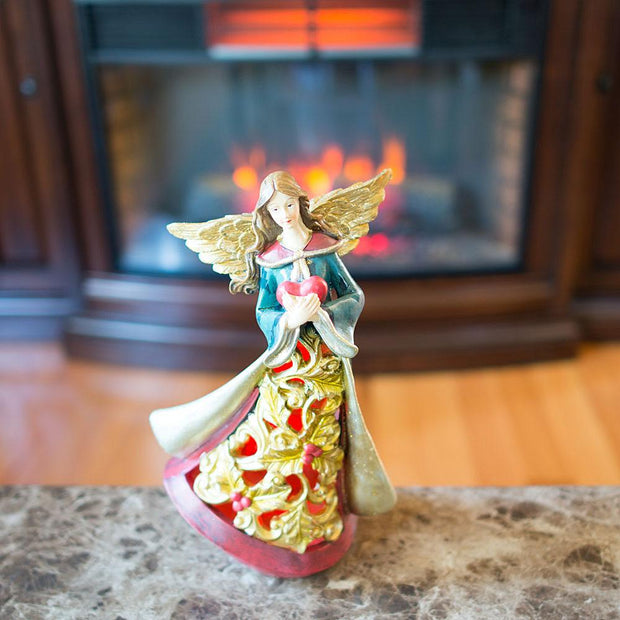 Guardian Angel Holding a Red Heart LED Lights Figurine 11.5 Inches