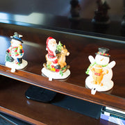 Set of 3 Hand Painted Stocking Holders - Snowmen & Santa 6.5 Inches