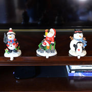 Set of 3 Hand Painted Stocking Holders - Penguin, Snowman & Santa 6.5 Inches