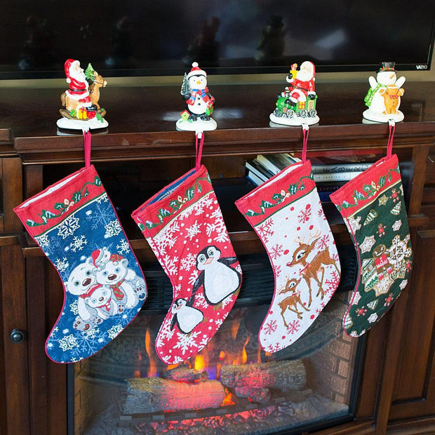 Buy Online Gift Shop 4 Polar Bears, Rudolph, Penguins and Gingerbread Man Christmas Stockings 18 Inch