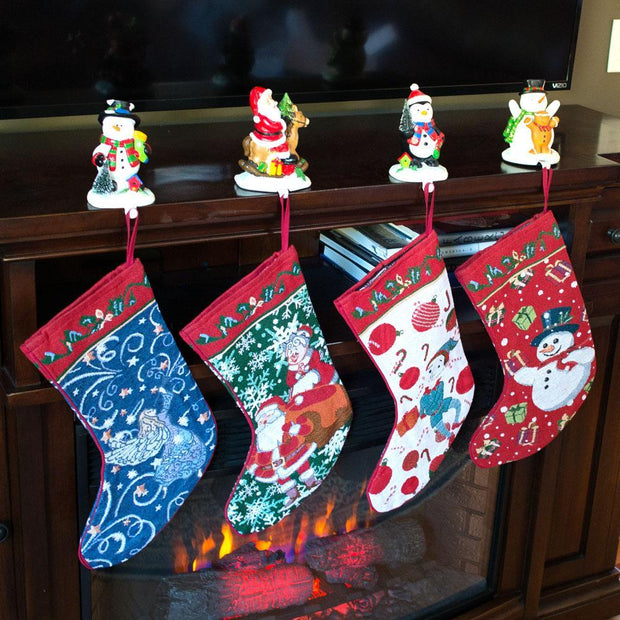 Set of 4 Mr. and Mrs. Claus, Angel, Elf and Snowman Christmas Stockings